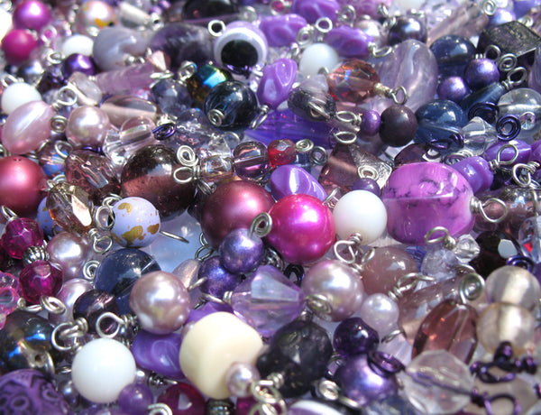 Purple Bead Charms Grab Bag - Bulk Glass & Acrylic Dangle Charms - Adorabilities Charms