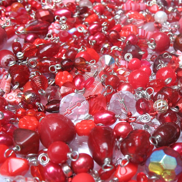 Red Bead Charms Grab Bag - Bulk Glass & Acrylic Dangle Charms - Adorabilities Charms & Trinkets