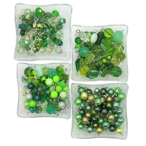 Green Bead Charms - 25 pc Grab Bag Acrylic Glass Crystal Natural Styles - Adorabilities Charms & Trinkets
