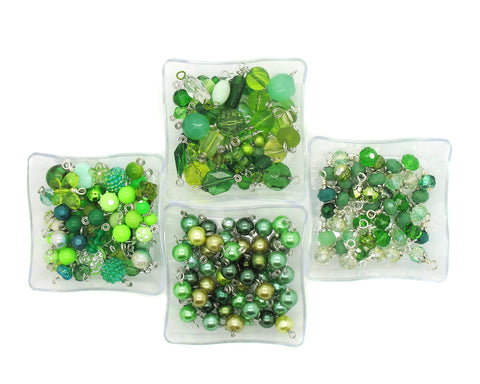 Green Bead Charms - 25 pc Grab Bag Acrylic Glass Crystal Natural Styles - Adorabilities Charms