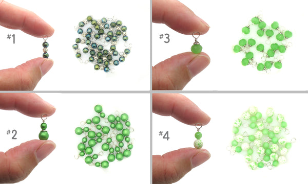 Green Bead Charms - Variety of Glass & Acrylic Dangle Charms - Adorabilities Charms