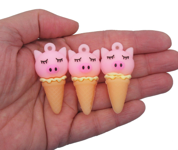 Animal Ice Cream Charms - Soft Rabbit, Pig, and Unicorn Kawaii Food Pendants - Adorabilities Charms