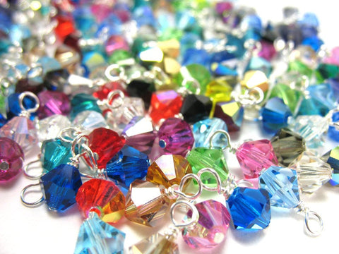 Crystal Bead Charms Grab Bag - Bulk 6mm Czech Glass Bicone Bead Charms - Adorabilities Charms & Trinkets