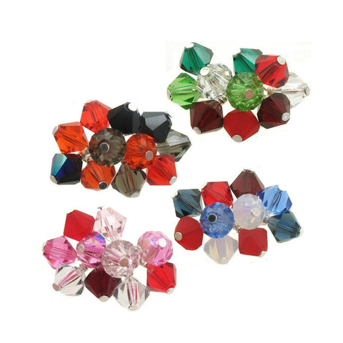 Holiday Mix Crystal Bead Charms - 6mm Czech Glass Bicone Bead Charm Dangles - Adorabilities Charms