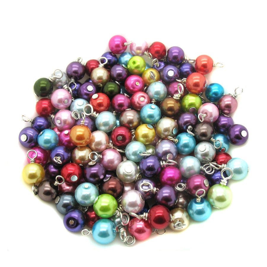 Bulk Glass Pearl Bead Charms - 8mm Glass Pearl Bead Dangles Mix for DIY Charm Bracelets - Adorabilities Charms