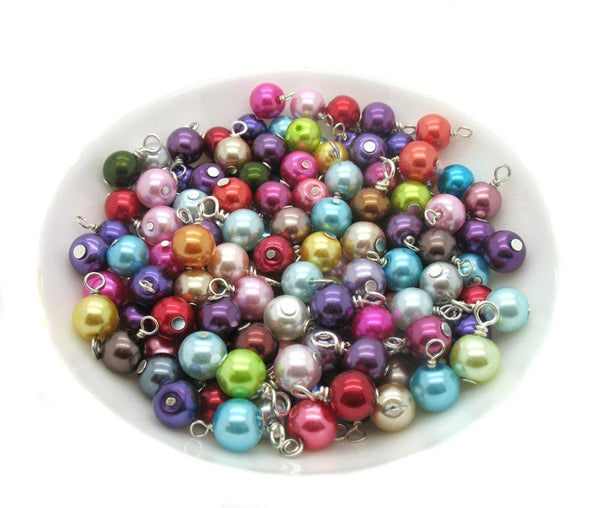 100 Glass Pearl Bead Dangles - Glass Bead Charms Mix Charm Bracelets - Adorabilities Charms
