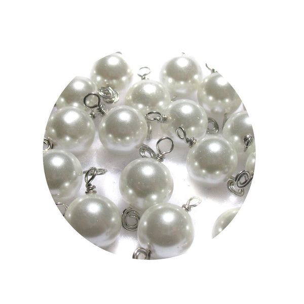 White Bead Charms - Beautiful White Glass Pearl Bead Dangles 8mm Bracelet Charms - Adorabilities Charms
