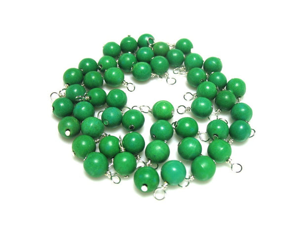 Green Stone Bead Charms - Kelly Green Magnesite 7mm Bead Dangles - Adorabilities Charms
