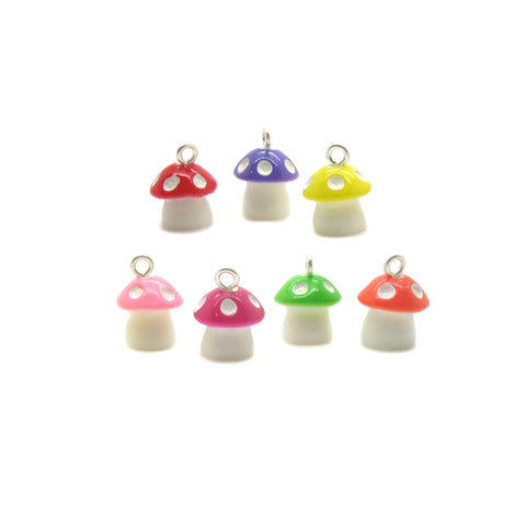 Tiny Mushroom Charms - Small 3D Mushrooms Resin Cabochon Charms - Adorabilities Charms