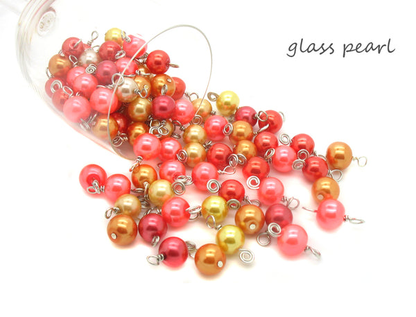 Orange Bead Charms - 25 pc Grab Bag Acrylic Glass Crystal Natural Styles - Adorabilities Charms