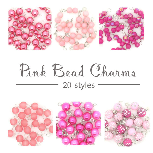 Pink Bead Charms - Variety of Glass & Acrylic Dangle Charms - Adorabilities Charms