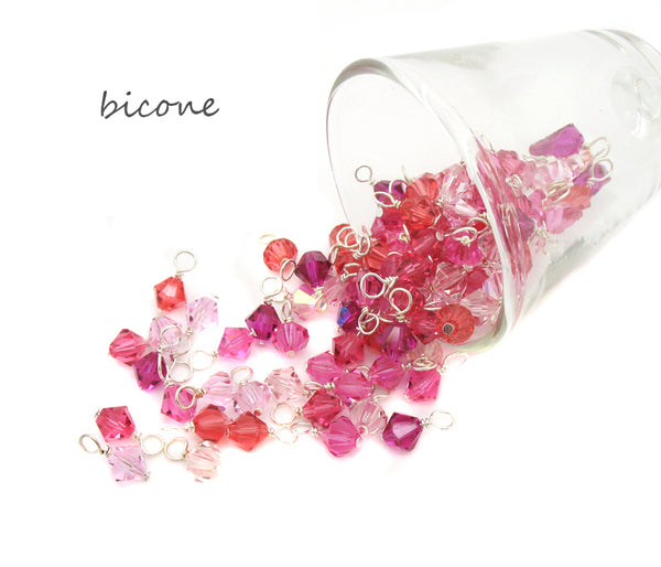Pink Bead Charms - 25 pc Grab Bag Acrylic Glass Crystal Natural Styles - Adorabilities Charms