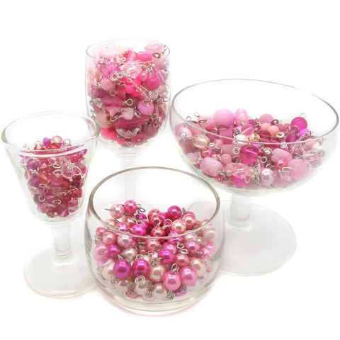 Pink Bead Charms - 25 pc Grab Bag Acrylic Glass Crystal Natural Styles - Adorabilities Charms & Trinkets