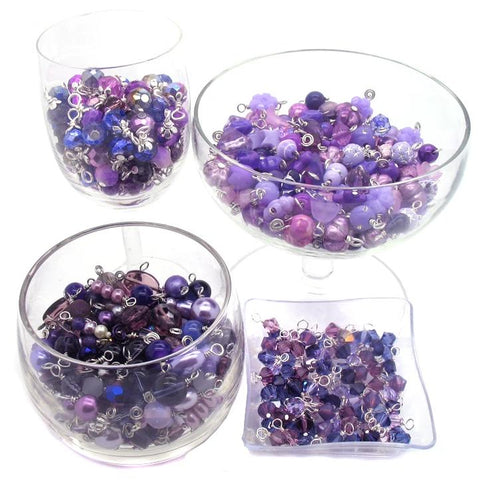 Purple Bead Charms - 25 pc Grab Bag Acrylic Glass Crystal Natural Styles - Adorabilities Charms