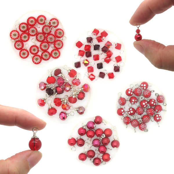 Red Bead Charms - Variety of Glass & Acrylic Dangle Charms - Adorabilities Charms