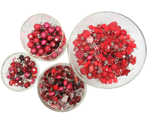 Red Bead Charms - 25 pc Grab Bag Acrylic Glass Crystal Natural Styles - Adorabilities Charms