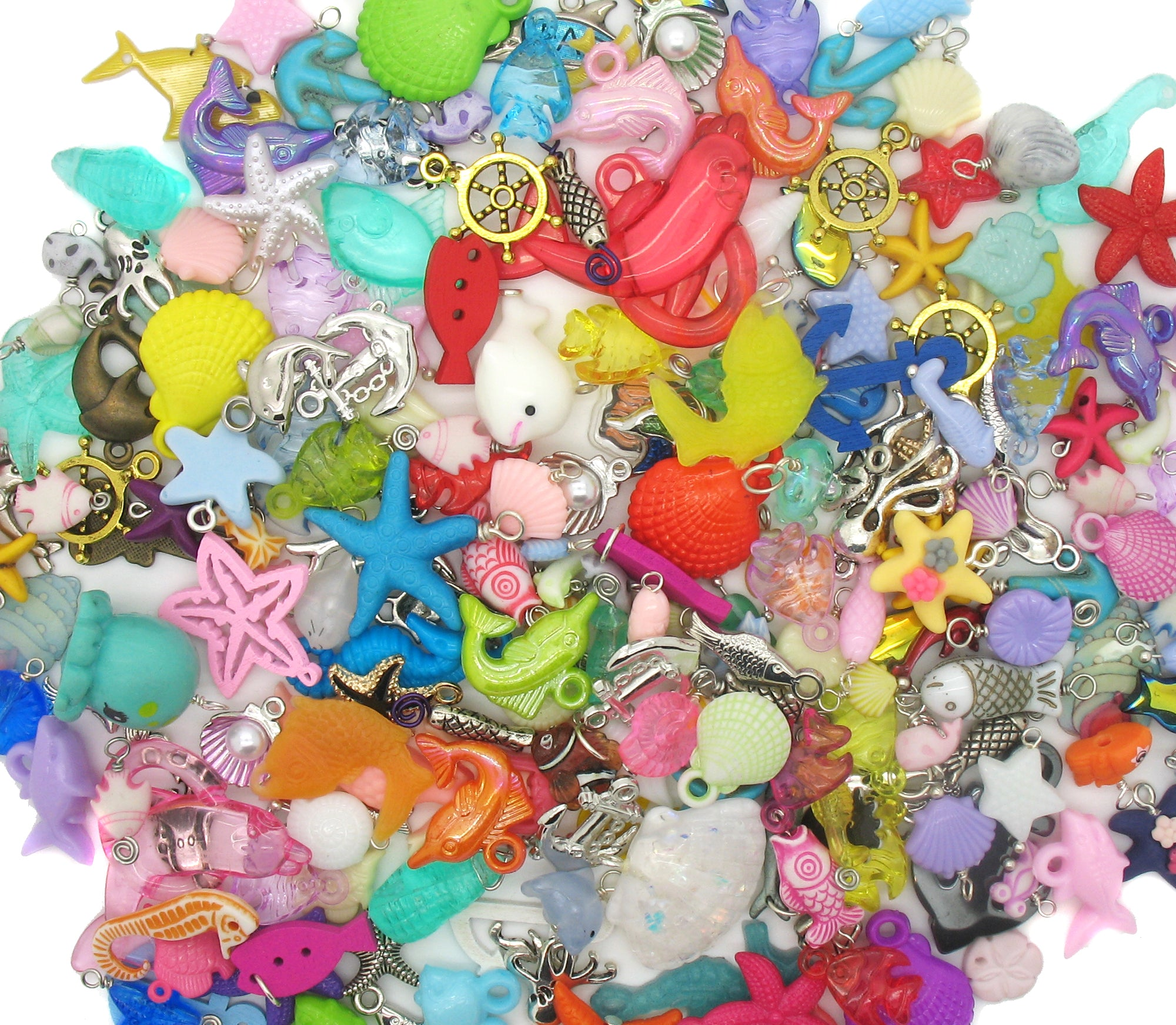 Sea Life Charms - Fish Ocean Water Animals Shells Charm Mix - Adorabilities Charms