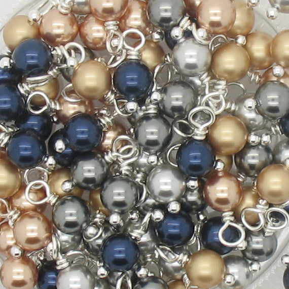 Charms made with Swarovski Crystal Pearls - Navy Gold & Silver 6mm Bead Dangles - Adorabilities Charms