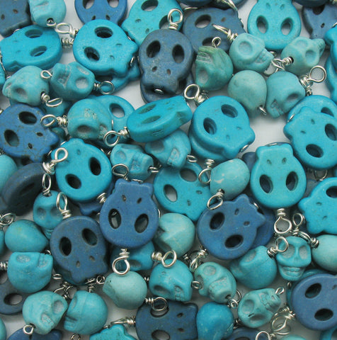Blue Skull Charms - Howlite Skulls Bead Charm Dangles Mix - Adorabilities Charms