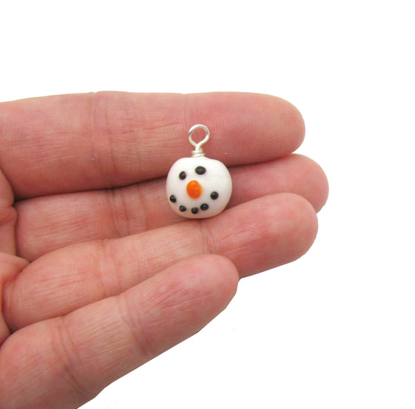 Snowman Charms - Lampwork Glass Snowmen Head Charms - Adorabilities Charms