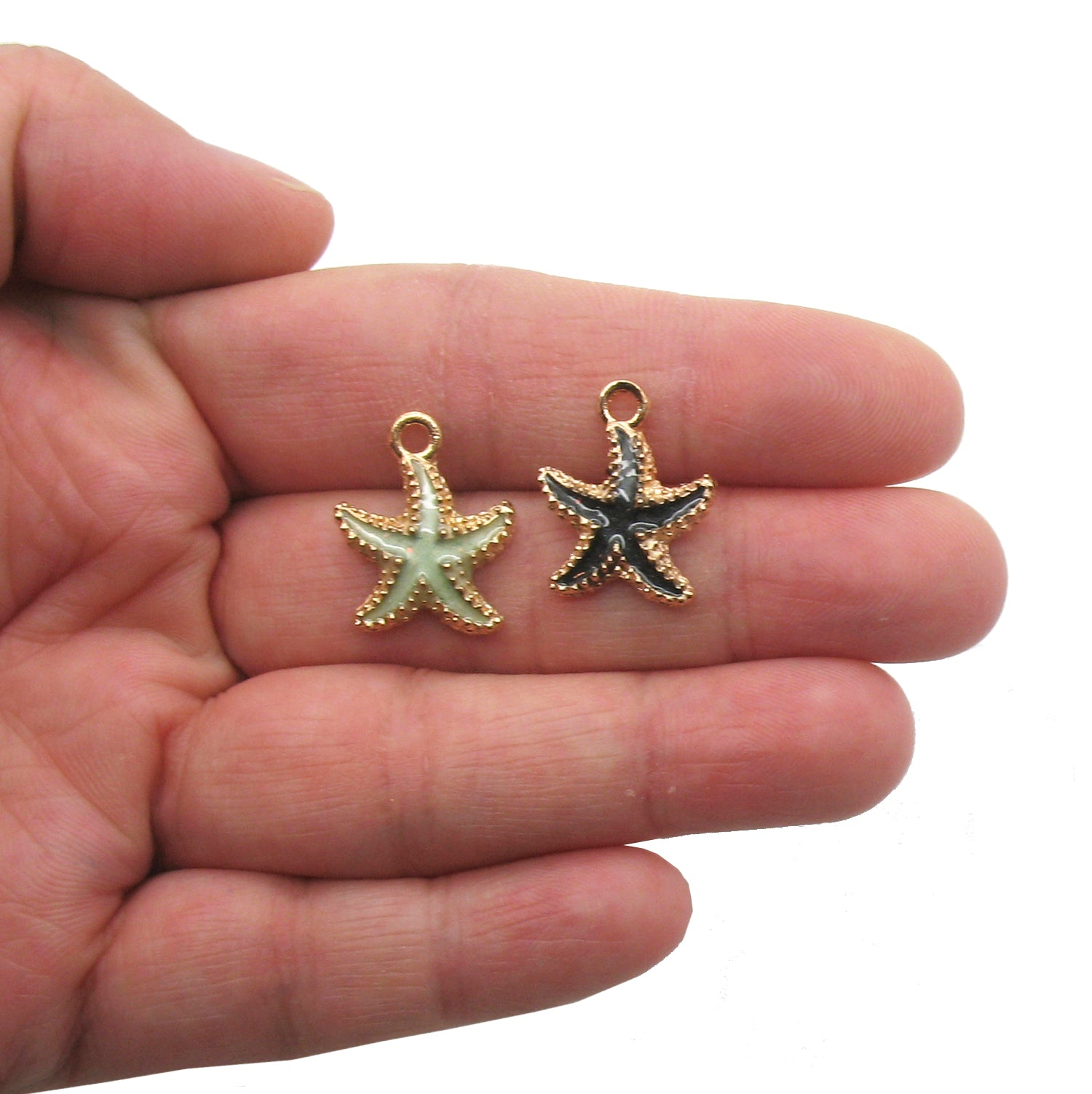 Pretty Starfish Charms - Golden Enamel Star Fish Ocean Charms - Adorabilities Charms & Trinkets