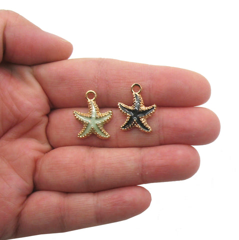 Pretty Starfish Charms - Golden Enamel Star Fish Ocean Charms - Adorabilities Charms