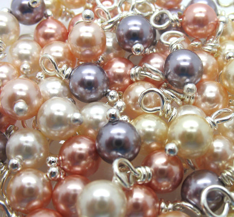 Charms made with Swarovski Crystal Pearls - Peach Cream Mauve 6mm Bead Dangles - Adorabilities Charms & Trinkets