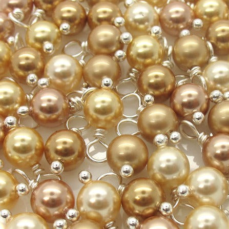 Pearl Charms made with Swarovski Crystals - Gold Shades 6mm Bead Dangles - Adorabilities Charms
