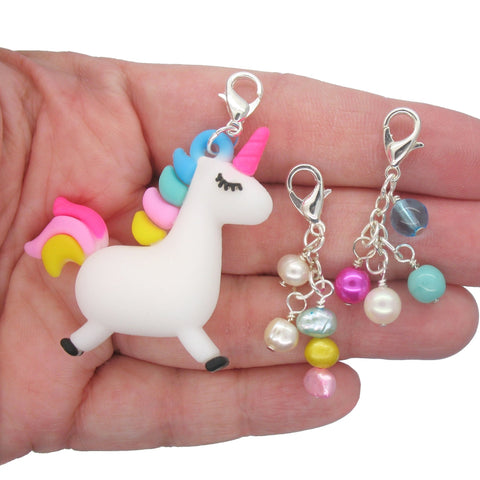 Unicorn Clip-On Charm Set - Kawaii Lobster Clasp Charms - Adorabilities Charms & Trinkets
