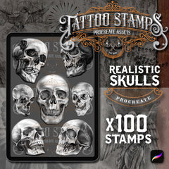 100 Realistic Skulls tattoo brushes for Procreate by TattooStamps