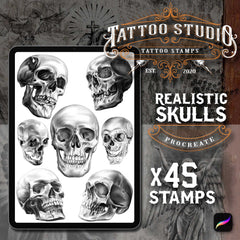 45 Realistic Skull tattoo brushes for Procreate by TattooStamps