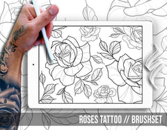 80 roses tattoo brushes and stamps for Procreate app by Brushestock