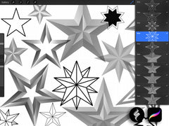 53 star stamps for Procreate application ipad