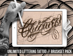 Unlimited Chicano Lettering Tattoo Pack by haris jonson for procreate application on iPad and iPad pro