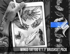 wings tattoo brushes and stamps for procreate app by brushestock