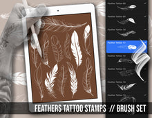 Load image into Gallery viewer, feather tattoo stencil stamps for procreate app