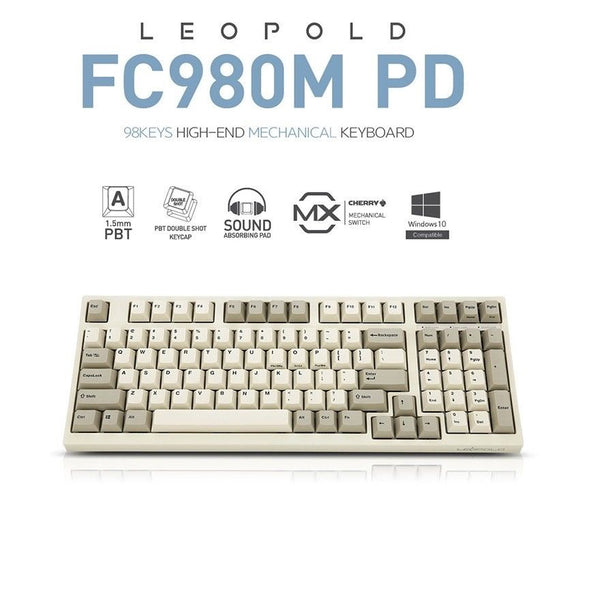 LEOPOLD FC980M PD Mechanical Keyboard Cherry MX Double Shot PBT White/Gray (MX RED / MX BROWN / MX BLUE)