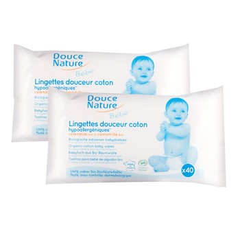 Douce Nature Organic Cotton Baby Wipes 40wipes 2packs