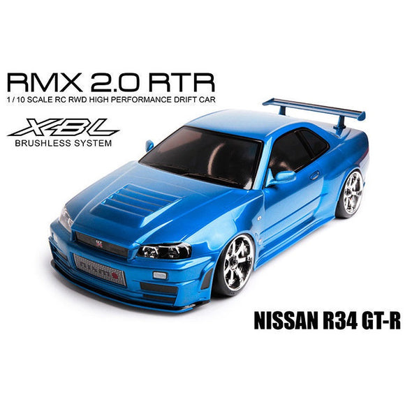 MST 533703 RMX 2.0 RTR Nissan R34 GT-R Body 1/10 2WD Brushless RTR Drift Car (Blue)