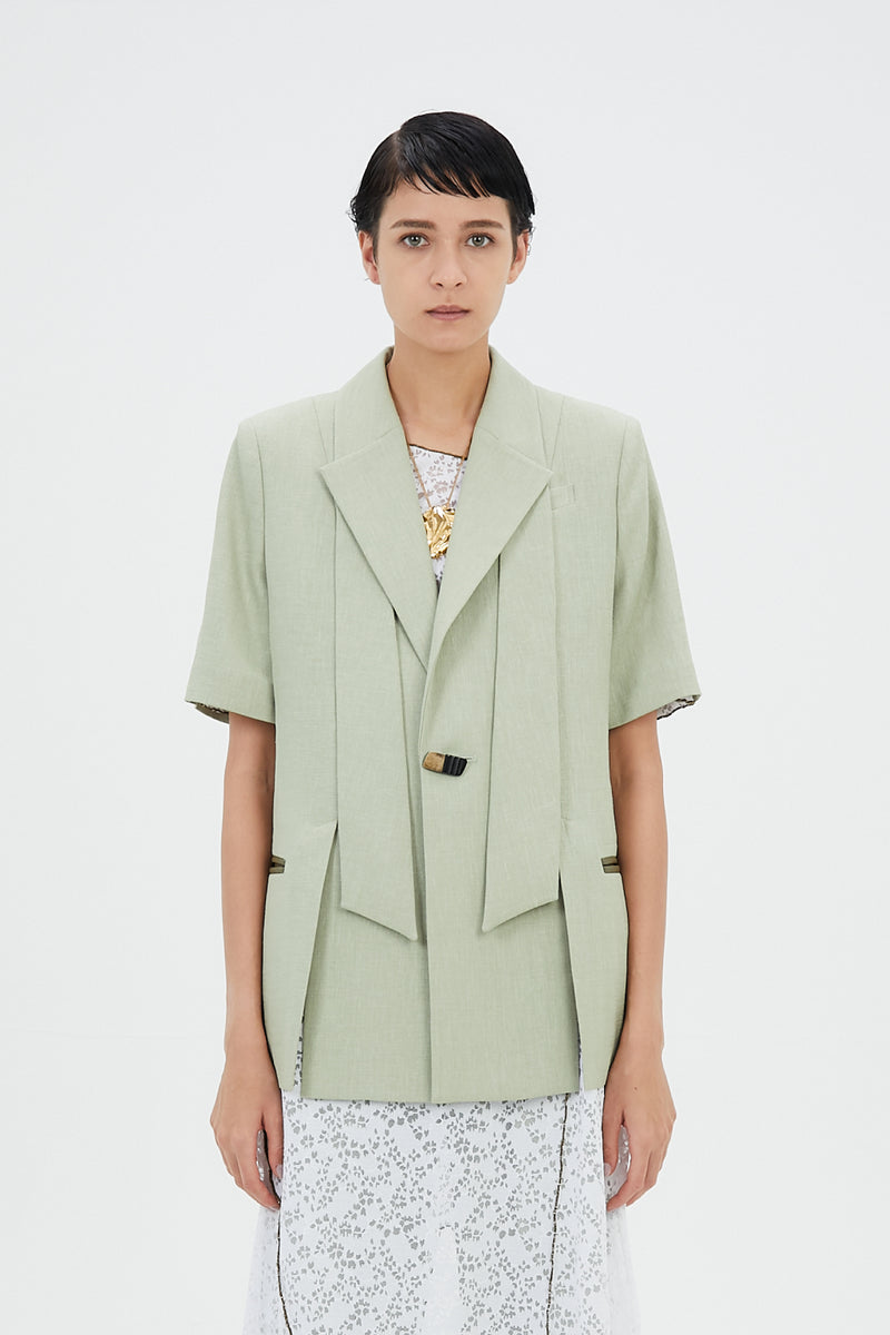 Long lapel halfsleeve jacket (Light green)
