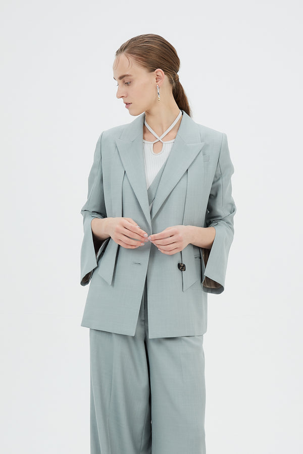 MURRAL Long lapel slit sleeve jacket (Light green)