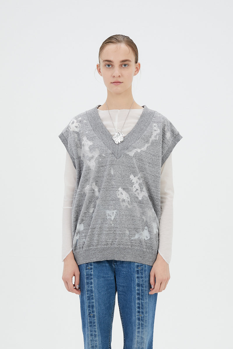 Sheer mixed knit vest top (Gray)