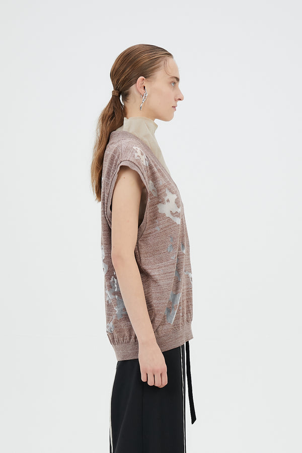 MURRAL Sheer mixed knit vest top (Brown)