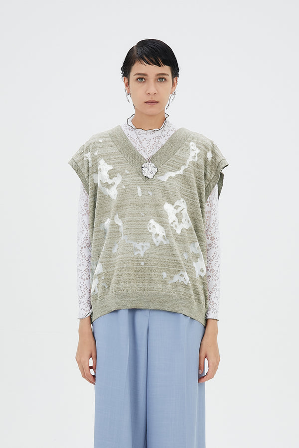 MURRAL Sheer mixed knit vest top (Green)