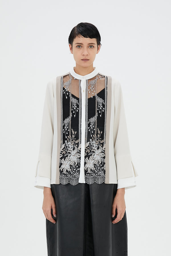MURRAL Framed flower blouse (Ivory)