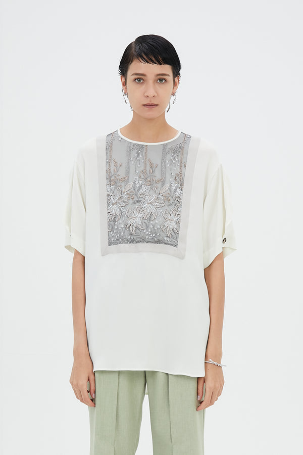 MURRAL Framed flower half sleeve top (ivory)