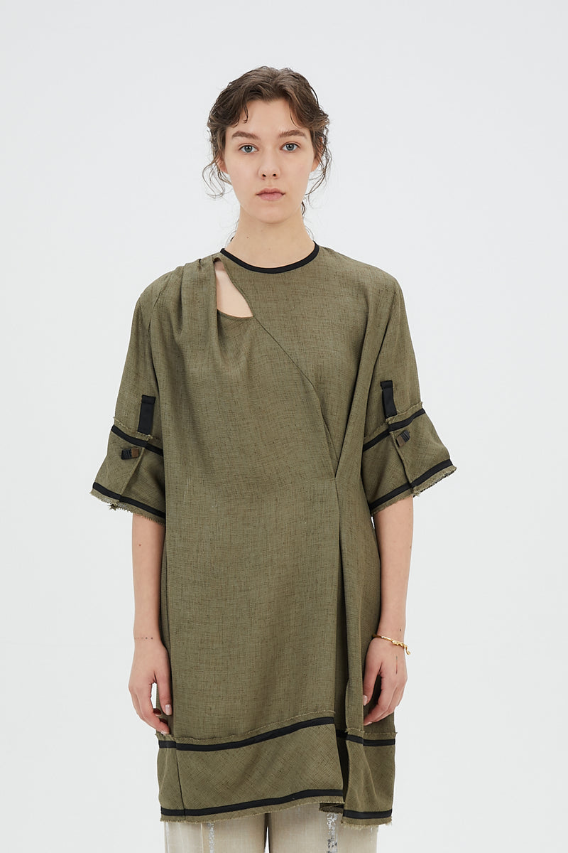 tucked long top (khaki)