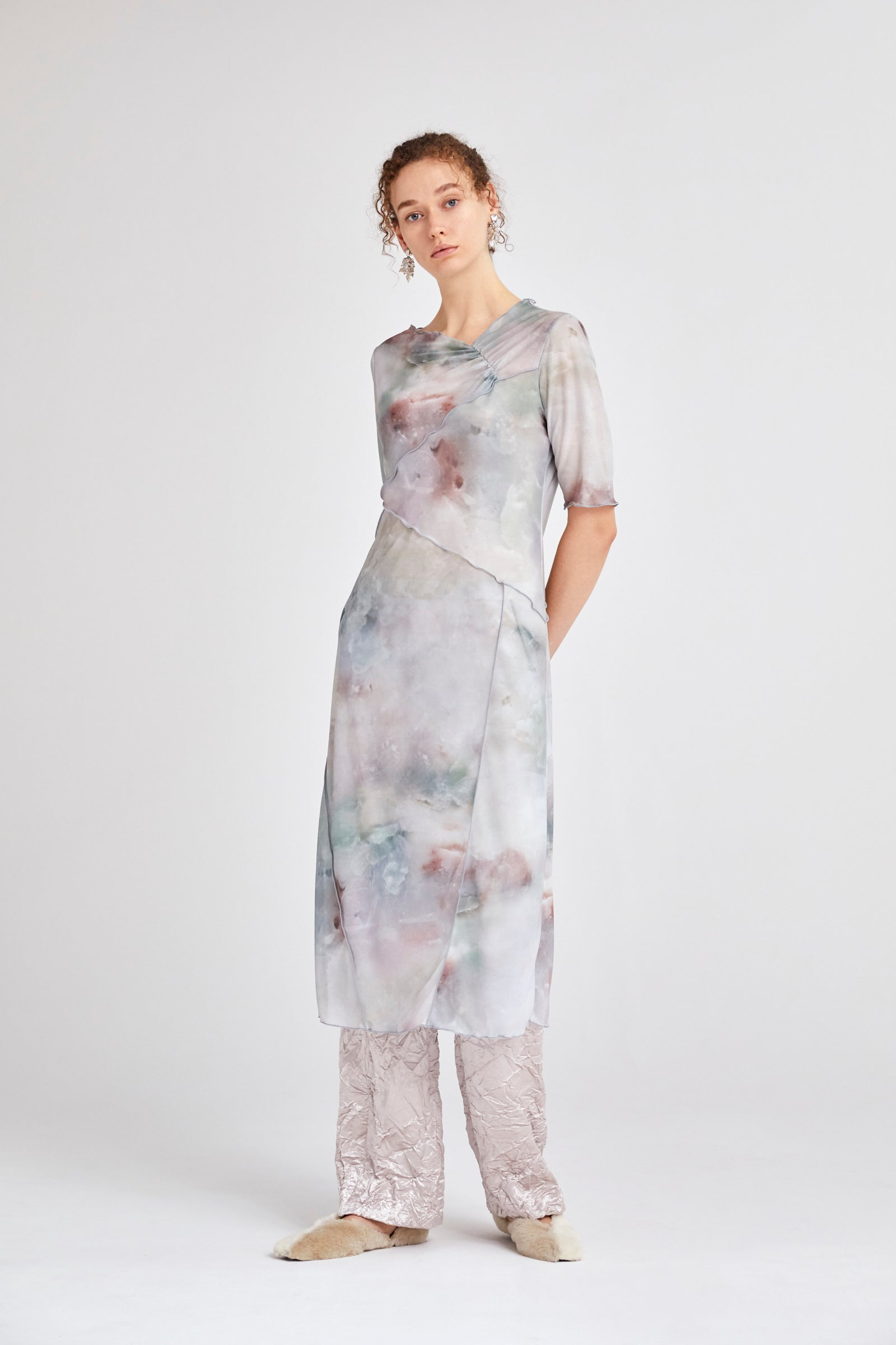 MURRAL candle print sheer dress (green)