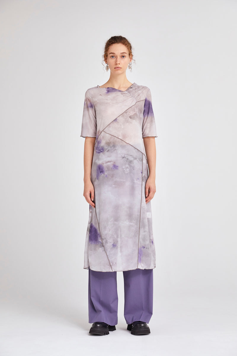 candle print sheer dress (purple)