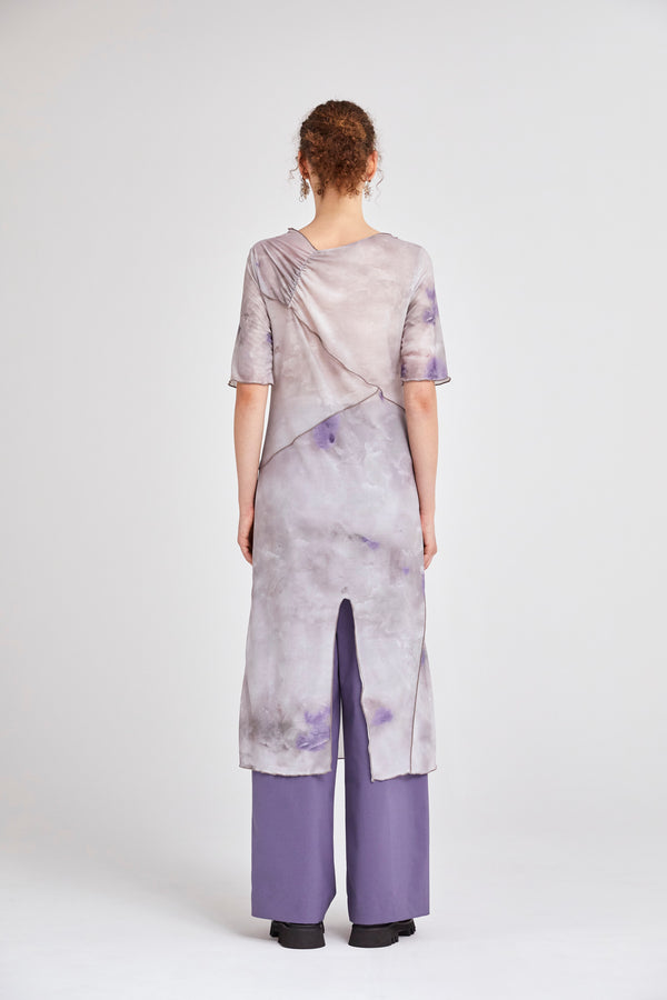 MURRAL candle print sheer dress (purple)